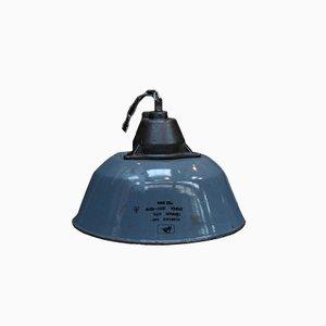 Lámpara colgante industrial de hierro fundido y esmalte gris, años 50