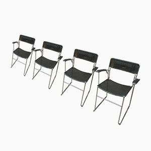 Chrome & Perforated Metal Stacked Chairs, 1960s, Set of 4