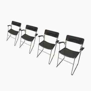 Sedie impilabili in metallo perforato e cromato, anni '60, set di 4