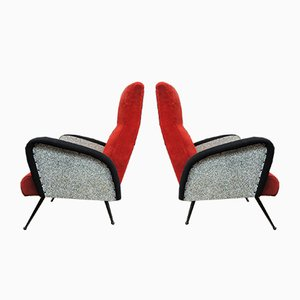 Mid-Century Metal Lounge Chairs, 1950s, Set of 2