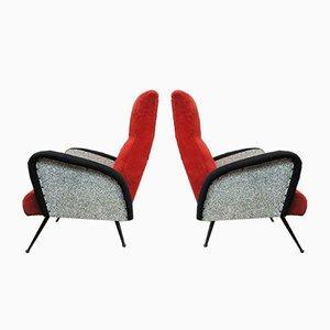 Mid-Century Sessel aus Metall, 1950er, 2er Set