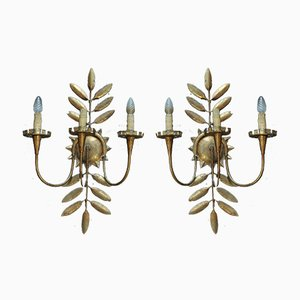 Gold Metal Sconces, 1920s, Set of 2