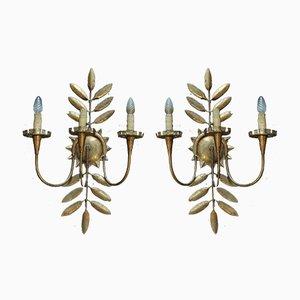 Wandlampen aus goldenem Metall, 1940er, 2er Set