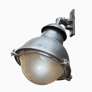 Lampe Industrielle en Verre et Fer, 1930s