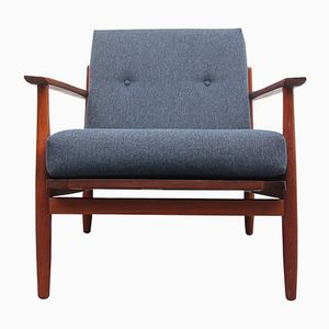 Dark Blue Teak Armchair, 1960s
