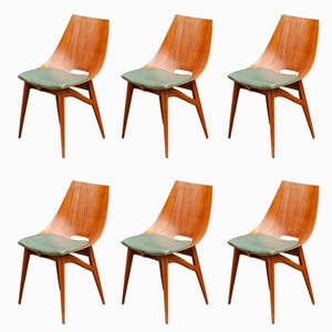 Italian Bentwood & Teak Plywood Dining Chairs, 1950s, Set of 6