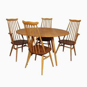 Beech & Elm Oval Drop-Leaf Dining Table from Ercol with 4 Chairs from Goldsmith, 1960s