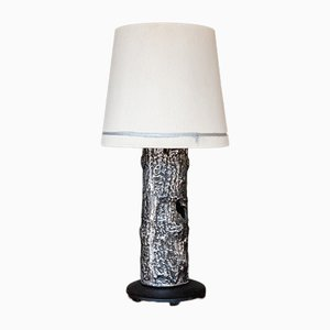 Mid-Century Brutalist Black & Silver Metal Table Lamp