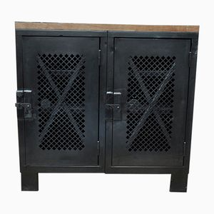 Vintage Metal Cabinet with 2 Perforated Doors & Wooden Top