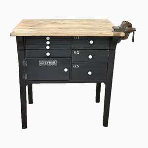 Mesa de carpintero vintage pequeña de madera negra
