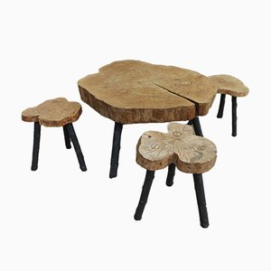 Brutalist Wood Coffee Table & 3 Stools, 1960s