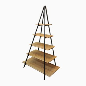 Vintage Industrial Oak & Metal Pyramid Bookcase