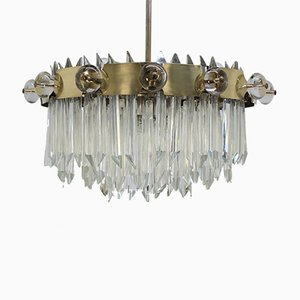Large Art Nouveau Crystal Ring Chandelier, 1920s