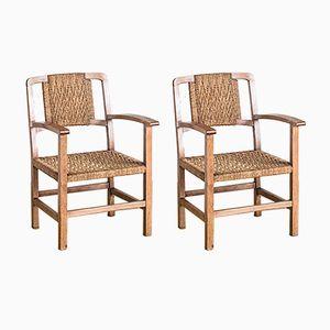 Spanische Stühle aus Holz & Seilgeflecht, 1940er, 2er Set