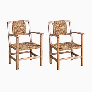 Spanish Braided Rope and Wood Chairs, 1940s, Set of 2