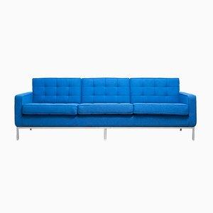 Blaues 3-Sitzer Sofa von Florence Knoll, 1950er