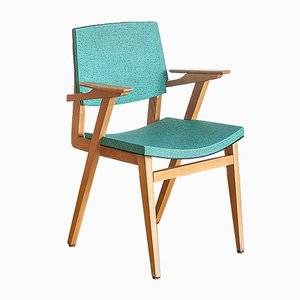 French Green Wood and Vinyl Side Chair, 1960s