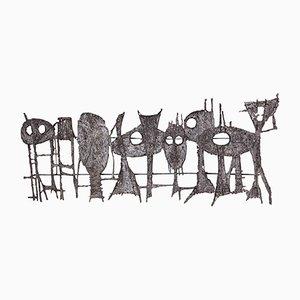 Sculpture Mrale Vintage Brutaliste par Pia Mannu pour Jules Dewaele