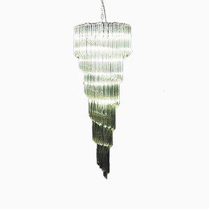 Lámpara de araña en forma de espiral de cristal de Murano, años 70