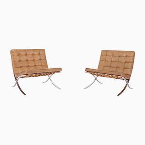 Sillas Barcelona de Ludwig Mies van der Rohe para Knoll, años 60. Juego de 2