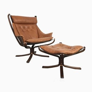 Vintage Camel Brown Leather & Rosewood Falcon Chair with Ottoman by Sigurd Ressell