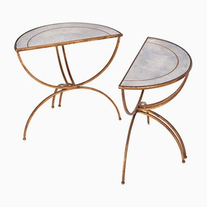 Vintage Demi-Lune Side Tables from Maison Baguès, Set of 2