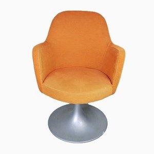Orangefarbener drehbarer Bürostuhl, 1970er