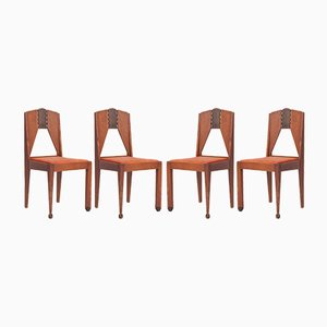 Vintage Amsterdamse School Dining Chairs, Set of 4