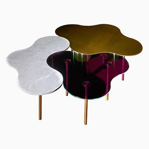 Tables Basses en Laiton par Sebastian Scherer, Set de 3