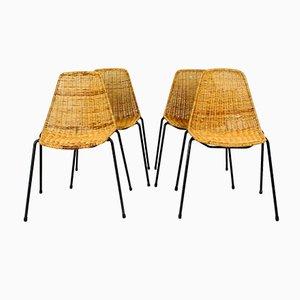 Mid-Century Korb-Stühle von Gian Franco Legler, 1960er, 4er Set