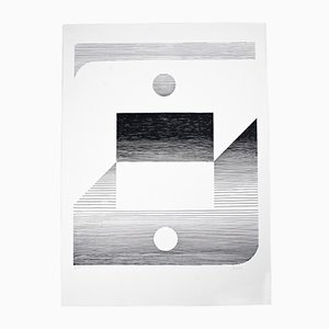 Abstract Lithograph in Black & White from Seuphor, 1980