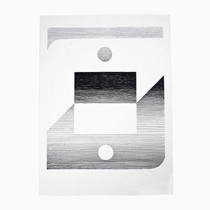 Lithographie Abstraite Noire & Blanche de Seuphor, 1980