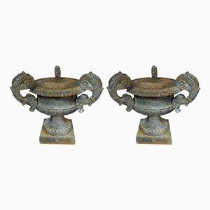 Französische Vintage Urnen, 2er Set