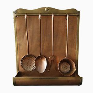 Juego de utensilios de cocina de cobre, años 50