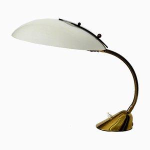 Lámpara de mesa Mid-Century de latón con plexiglás