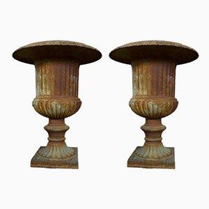 Urnas de jardín Medici antiguas. Juego de 2