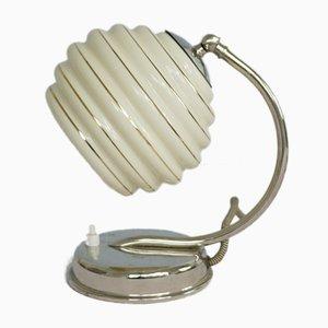 Lámpara de mesa italiana de vidrio opalino, años 40