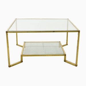 Gold Brass and Glass Coffee Table, 1970s