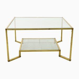 Tavolino da caffè in ottone dorato e vetro, anni '70