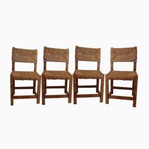 Französische Esszimmerstühle, 1950er, 4er Set
