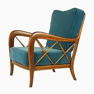 Italian Blue Velvet Armchair, 1940s