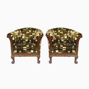 Danish Chippendale Club Chairs, 1920s, Set of 2
