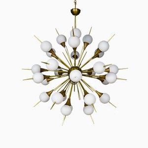 Lámpara de araña Sputnik con púas de latón y cristal de Murano, años 70
