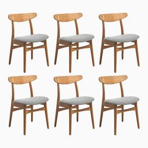 CH 30 Esszimmerstühle von Hans Wegner für Carl Hansen & Søn, 1950er, 6er Set