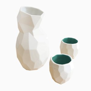 Grünes Sake Set in Polygon-Optik von Studio Lorier