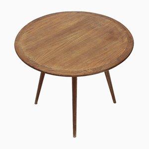 Couchtisch aus Holz mit runder Platte, 1950er