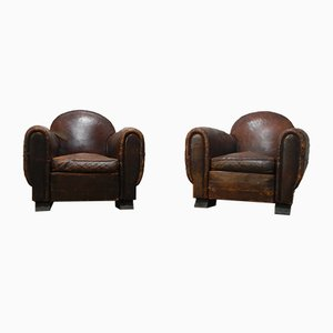 Vintage Leather Lounge Chairs, Set of 2