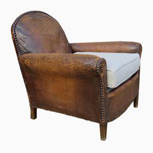 Club chair antica in pelle, Francia