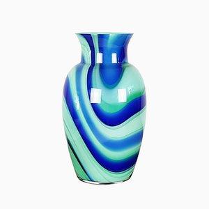 Vase en Verre Murano Bleu, Aquamarine et Vert par Carlo Moretti, 1990s