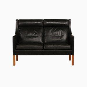 Modell 2432 schwarzes Ledersofa mit Beinen aus Eiche von Børge Mogensen für Fredericia, 1960er